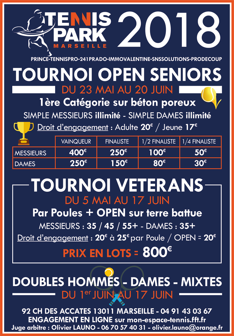 Inscrivez-vous au tournoi Tennis Park 2018 !